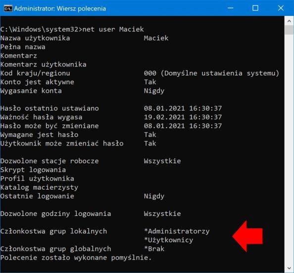 Informacje okoncie wyświetlone zapomocą polecenia net user.