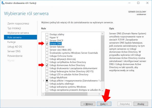 Instalacja Usługi Active Directory orazSerwera DNS wsystemie Windows Serwer 2016.