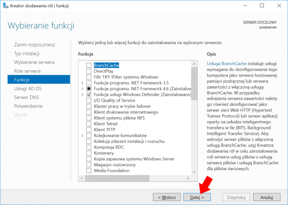 Okno widoku funkcji systemu Windows Serwer 2016.