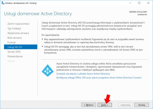 Okno informujące otym czym jest idoczego służy Active Directory wWindows Serwer 2016.