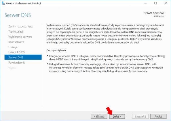 Okno informujące otym czym jest idoczego służy Serwer DNS wWindows Server 2016.