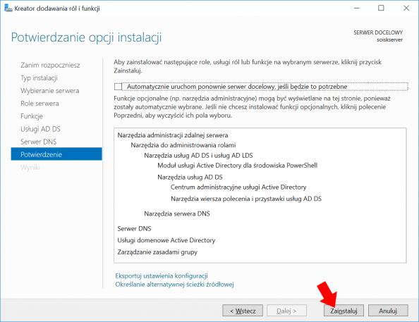Instalacja usług domenowych wsystemie Windows Server 2016.