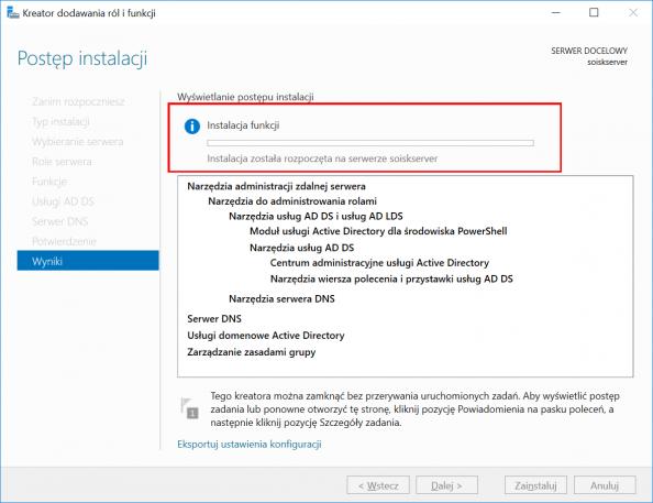 Rozpoczęcie procesu instalacji usług domenowych wsystemie Windows Server 2016.