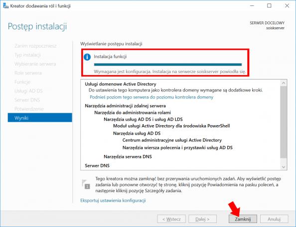 Zakończenie procesu instalacji usług domenowych wsystemie Windows Server 2016.