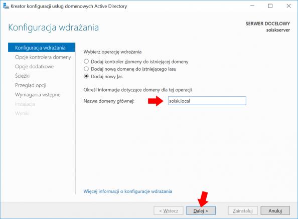 Konfiguracja usług domenowych Active Directory wsystemie Windows Server 2016.