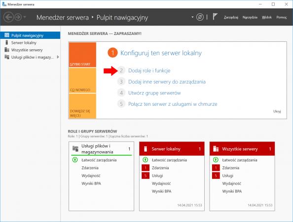 Dodawanie ról ifunkcji wsystemie Windows Server 2016 przy użyciu Menedżera Servera.