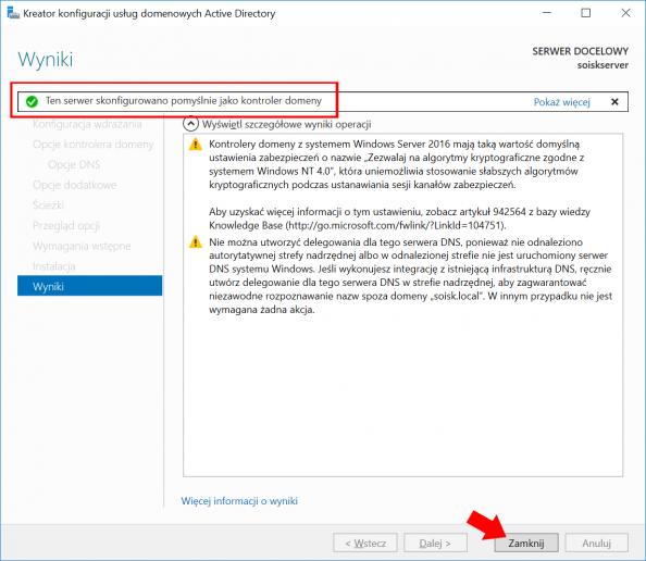 Konfiguracja usług domenowych Active Directory wsystemie Windows Serwer 2016.
