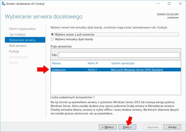 Wybór serwera naktórymzostanie zainstalowana usługa Active Directory.