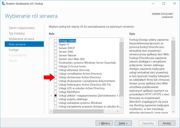 Instalacja usługi domenowej Active Directory wsystemie Windows Serwer 2016.