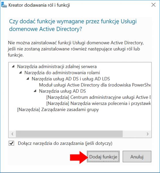 Dodanie funkcji wspierających działanie usługi Active Directory.