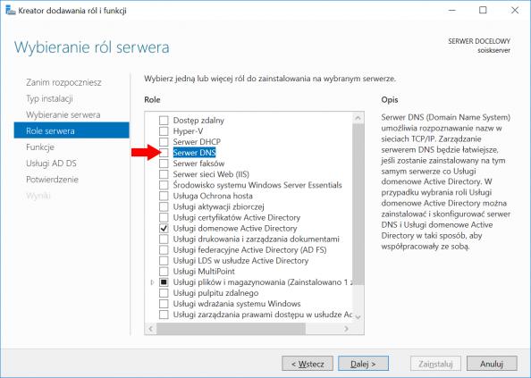 Instalacja Serwera DNS wsystemie Windows Server 2016.