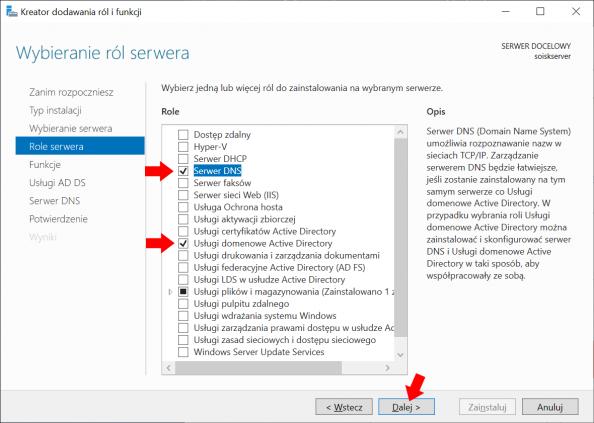 Instalacja Usług domenowych Active Directory orazSerwera DNS wsystemie Windows Server 2019.