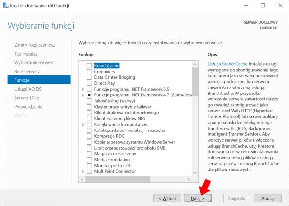 Okno widoku funkcji systemu Windows Server 2019.