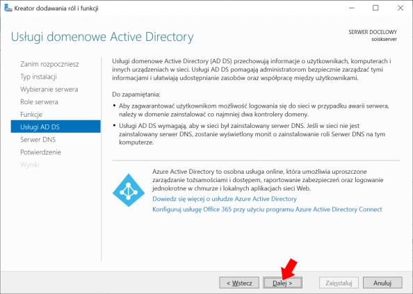 Okno informujące otym co tojest idoczego służy Active Directory wsystemie Windows Server 2019.