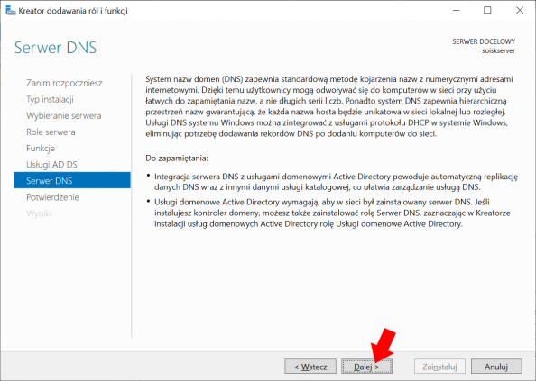 Okno informujące otym co tojest idoczego służy Serwer DNS wWindows Server 2019.