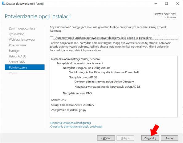 Instalacja usług domenowych wsystemie Windows Server 2019.