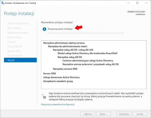 Rozpoczęcie procesu instalacji usług domenowych wsystemie Windows Server 2019.