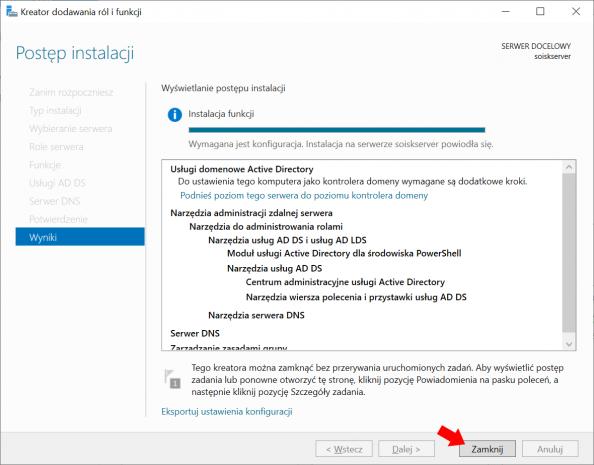 Zakończenie procesu instalacji usług domenowych wsystemie Windows Server 2019.