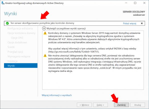 Zakończenie procesu konfiguracja usług domenowych Active Directory wsystemie Windows Server 2019.