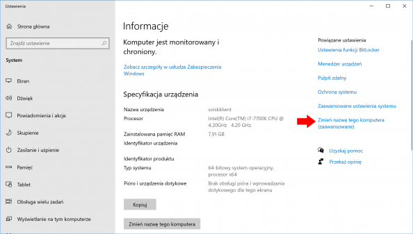 Wywołanie zakładki zmiany nazwy komputera wsystemie Windows 10 pro.