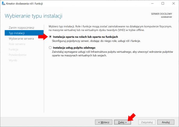Dodawanie ról ifunkcji przy użyciu Menedżera Servera.