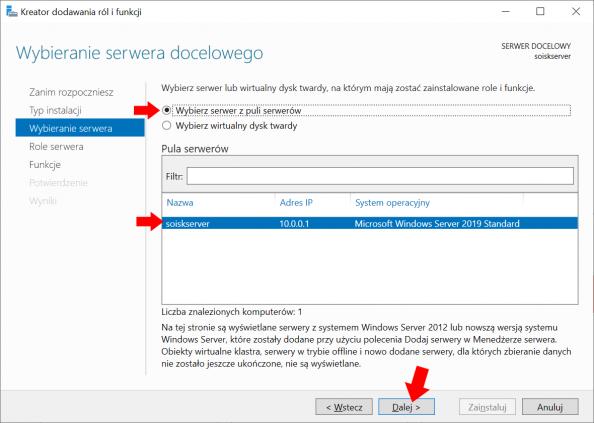 Wybór servera naktórymzostanie zainstalowana usługa Active Directory.