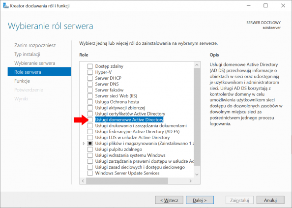 Instalacja usługi domenowej Active Directory wsystemie Windows Server 2019.