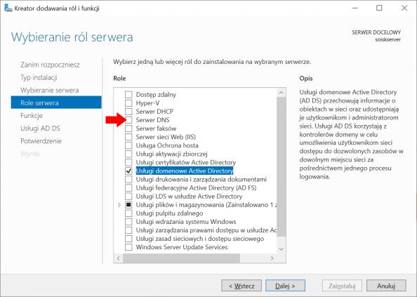 Instalacja Serwera DNS wsystemie Windows Server 2019.
