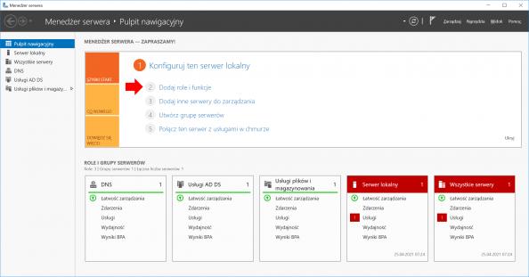 Dodawanie ról ifunkcji wsystemie Windows Serwer 2016 przy użyciu Menedżera Serwera.