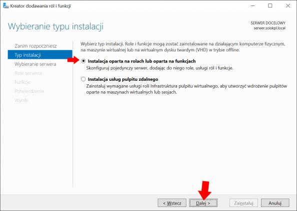 Okno kreatora dodawania ról ifunkcji wsystemie Windows Serwer 2016.