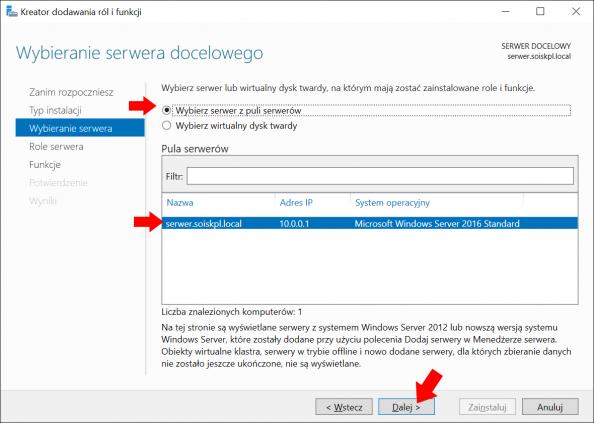 Wybór serwera naktórymzostanie zainstalowana usługa DHCP.