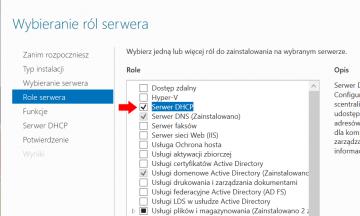 Instalacja usługi DHCP w systemie Windows Serwer 2019