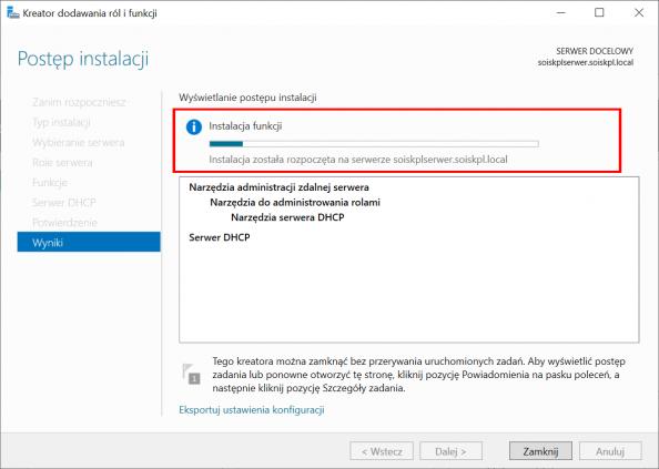 Instalacja usługi DHCP wsystemie Windows Serwer 2019