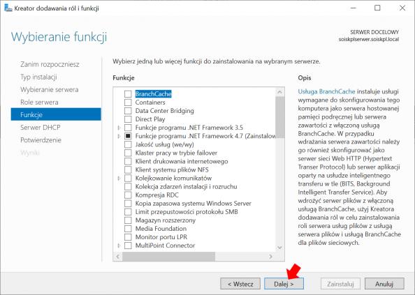 Okno widoku funkcji systemu Windows Serwer 2019.