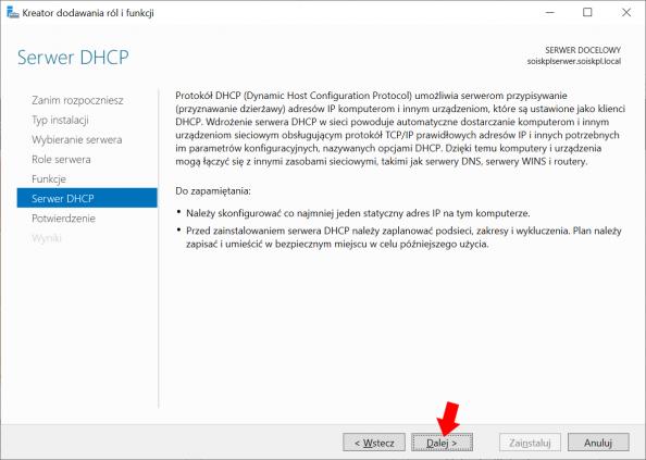Okno informujące otym co tojest idoczego służy usługa DHCP wWindows Serwer 2019.