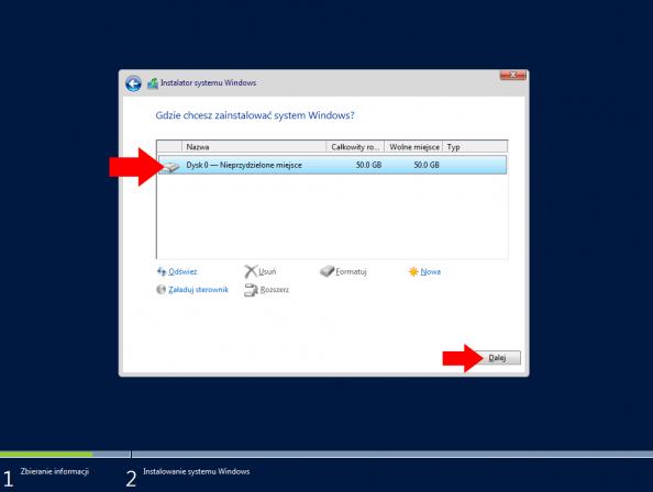 Wybór dysku przeznaczonego doinstalacji systemu Windows Server 2016.