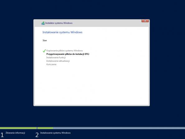 Proces instalacji systemu Windows Server 2016 został rozpoczęty.
