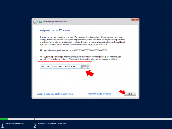 Klucz produktu Windows Server 2019.