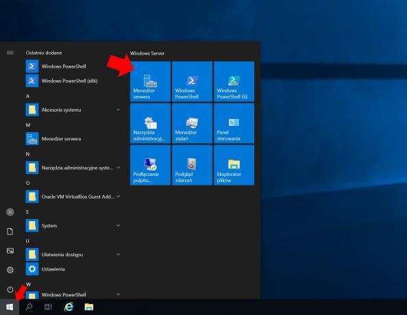 Wywołanie przystawki Menedżer Serwera wsystemie Windows Serwer 2019.