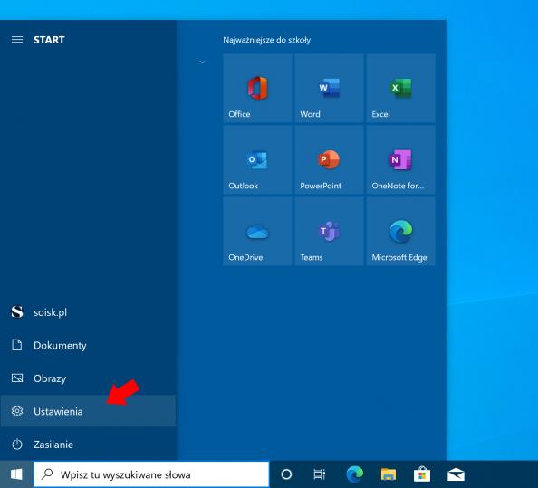 Wywołanie okna ustawień systemu Windows 10.
