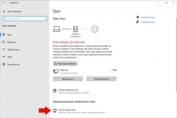 Widok okna Ustawień systemu Windows 10.