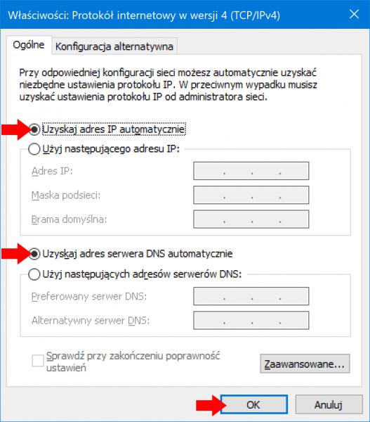 Zmiana właściwości karty sieciowej wsystemie Windows 10.