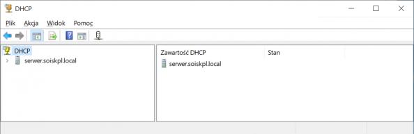 Okno zarządzania usługą DHCP wsystemie Windows Serwer 2019.