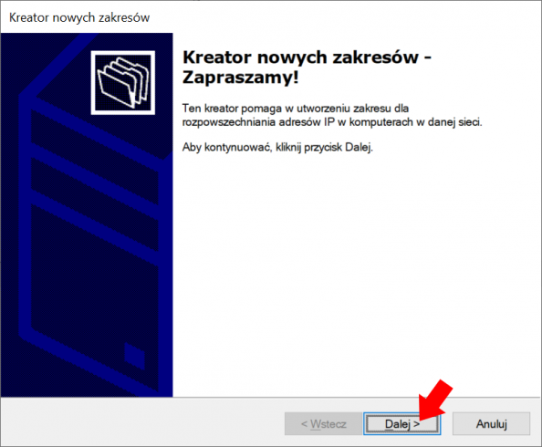 Konfiguracja usługi DHCP - widok okna kreatora nowych zakresów