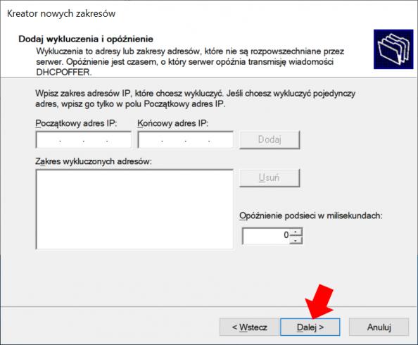 Konfiguracja usługi DHCP - widok okna kreatora nowych zakresów wWindows Serwer 2019.